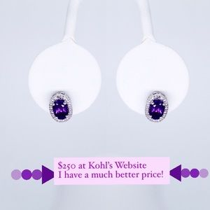 Amethyst and Diamond Accent Oval Stud Earrings ✨
